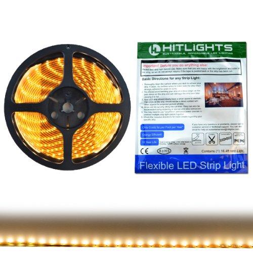 HitLights Weatherproof Warm White SMD3528 LED Light Strip - 300 LEDs, 16.4 Ft Roll, Cut to Length - 3000K, 149 Lumens per foot, Requires 12V DC, IP65
