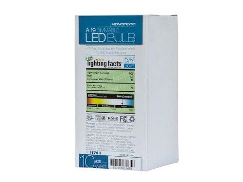 Monoprice 111743 10-Watt (75W Equivalent) A 19 LED Bulb, 905 Lumens, So-Feet Daylight (5400K), Dimmable