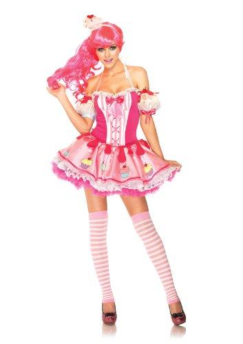 Leg Avenue Women's 3 Piece Halter Dress with Cupcake Arm Puffs, Pink, X-Small
