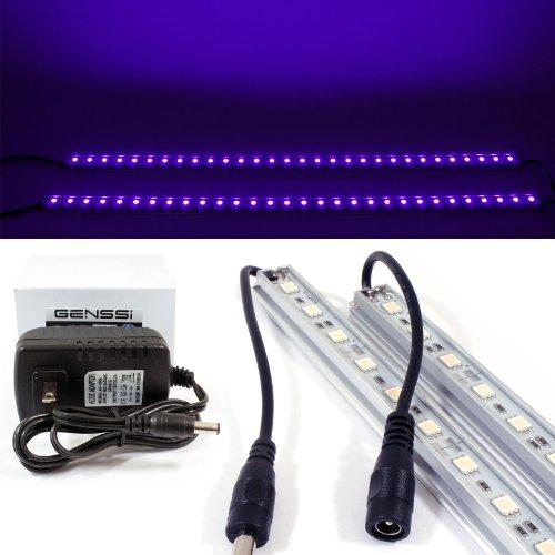 GENSSI LED Black Light Blacklight Tube 50cm Strip UV Purple Wall Washer (Pack of 2)
