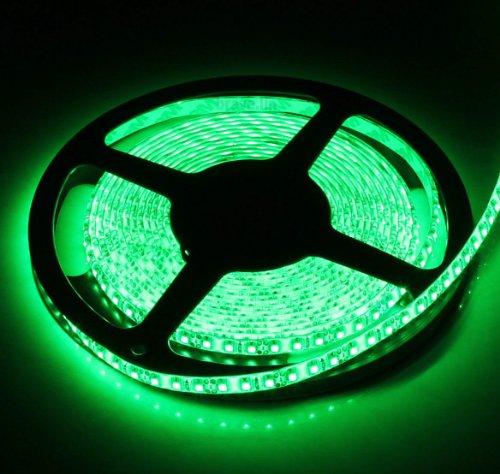 SUPERNIGHT (TM) High Density Green Waterproof Led Light Strip, SMD 3528, 600 LEDs 5 Meter or 16 Feet LED Strip 120 Leds/M