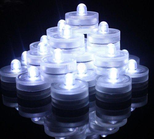 Signstek Set of 24 Submersible Waterproof Wedding Underwater Tea Light Sub LED Light for Decoration Wedding Party Bar etc.*White*
