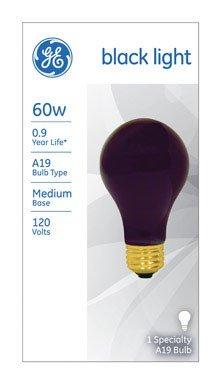 GE Lighting 25905 60-Watt A19 Black Light Bulb, 6-Pack