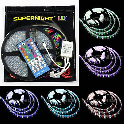SUPERNIGHT 16.4ft RGBWW LED Strip Flexible Light Kit , 5050 300led Waterproof IP67 RGBWW LED Lighting + 40Key IR Remote Controller +12V 5A Power Supply - White Roll Strip