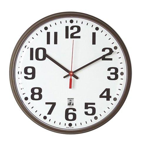 "SKILCRAFT - 6645-01-557-3149 - 12 3/4"" Brown Selfset Quartz Wall Clock"