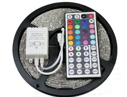 SUPERNIGHT 16.4ft 5M Waterproof Flexible Strip 300leds Color Changing RGB SMD3528 LED Light Strip Kit RGB 5M +44Key Remote+12V 3A Power Supply