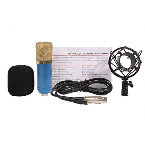 MeGooDo Condenser Microphone Sound Recording Dynamic + Mic Shock Mount, for radio broadcasting studio, voice-over sound studio, recording,ect(Blue)