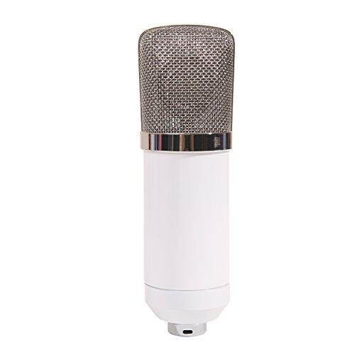 MeGooDo Condenser Microphone Sound Recording Dynamic + Mic Shock Mount, for radio broadcasting studio, voice-over sound studio, recording,ect(White)