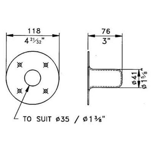 """Penn-Elcom M1551 Speaker Mounting Top Hat Steel For 1-3/8"""""""