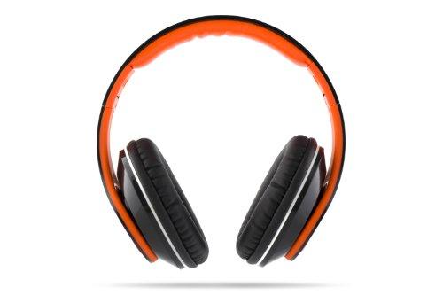 VM Audio Elux Over Ear DJ Stereo MP3 iPhone Bass Headphones - Piano Black/Orange