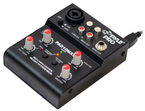 Pyle-Pro PAD10MXU 2 Channel Mini Mixer With USB Audio Interface