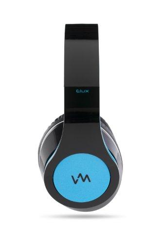 VM Audio Elux Over Ear DJ Stereo MP3 iPhone Bass Headphones - Piano Black/Blue
