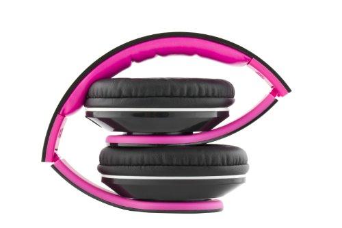VM Audio Elux Over Ear DJ Stereo MP3 iPhone Bass Headphones - Piano Black/Pink