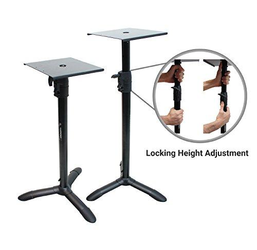 Harmony Audio HA-BKSPKS Home Audio - Studio Monitor Adjustable Height Bookshelf Speaker Stand Pair